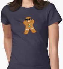 Tan Gingerbread Man Womens Fitted T-Shirt