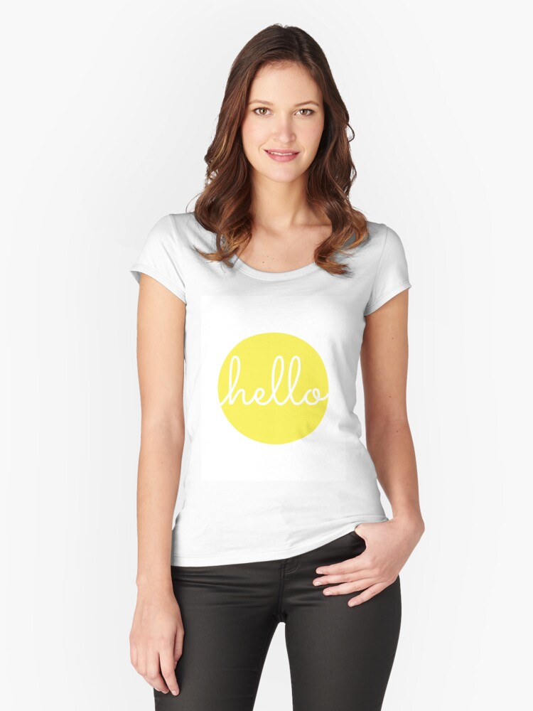 'Hello Yellow Minimalist Dot Modern Cursive Font Design' Women's Fitted  Scoop T-Shirt by DesIndie