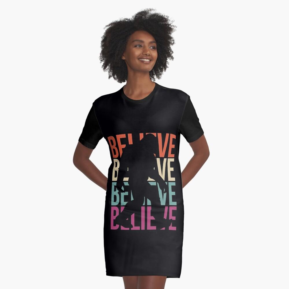 Bigfoot T-shirt I Believe Bigfoot Sasquatch Yeti Funny Shirt Graphic T-Shirt Dress
