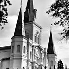 St. Louis Cathedral - Grayscale by DebiDalio