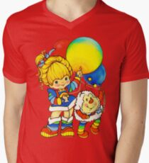 "Vintage ""Up, Up & Away"" Rainbow Brite, Sprite, Twink, White, Colorful, Bright, Retro, Yellow, Gold, Mustard, 80's, Cartoon, Babies, Throwback, Pop Culture, My Childhood   Men's V-Neck T-Shirt"