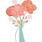 Spring Bouquet of Flowers in Pink and Coral by latheandquill