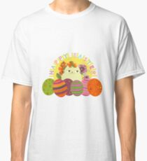 Easter Cat White Cute Colorful Eggs Funny Cartoon  Classic T-Shirt