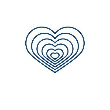 Multi forma de corazón azul de jashirts