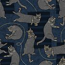 Lounging Cats On Terrazzo - Blue by Elisabeth Fredriksson