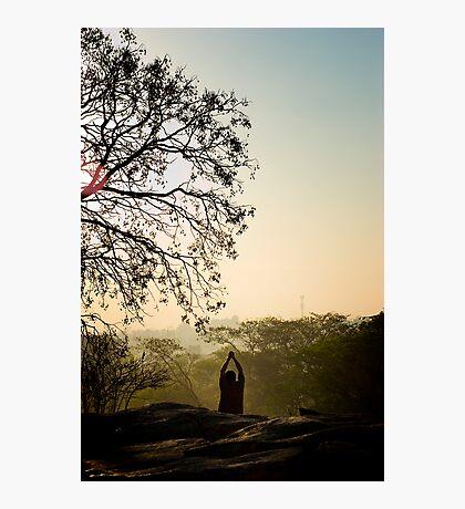 Seeking his center beneath the tree Photographic Print