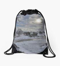 Yorkshire: Snow at the Rocks Drawstring Bag