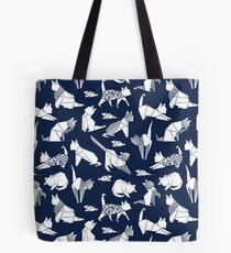 Origami Kätzchen Freunde / / blau Marine Hintergrund Papier Katzen Tote Bag