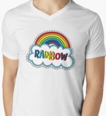 Colorful Rainbow Sticker Men's V-Neck T-Shirt