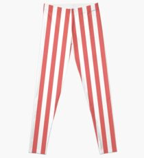 Tropical Red and White Stripes Pattern Leggings
