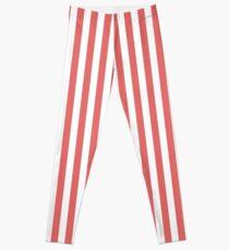 Tropisches rotes und weißes Streifen-Muster Leggings