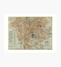 Vintage Map of Rome Italy (1911) Art Print