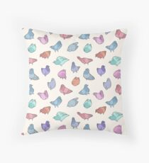 Pigeons Poofs in Multicolor Throw Pillow
