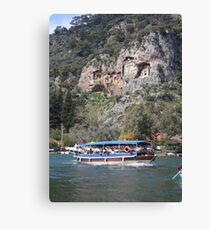 Quintessentially Dalyan: River Boats and Rock Tombs Canvas Print