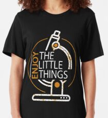 Funny Microbiology Enjoy The Little Things Science Slim Fit T-Shirt