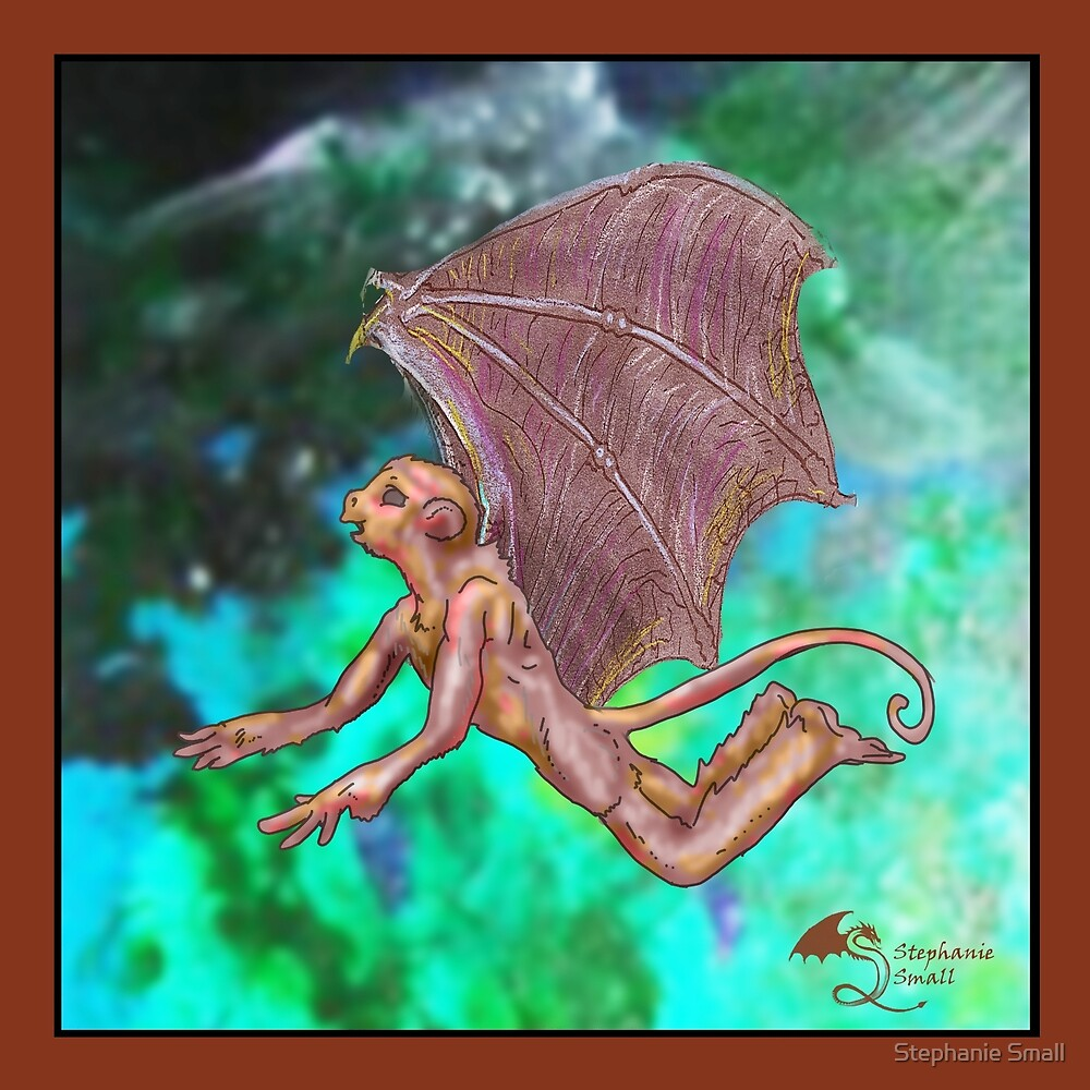 Rebob Flying Winged Monkey of Napa Valley California Wings Brown by Stephanie Small