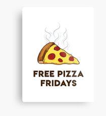Free Pizza Fridays (Black Text) Metal Print
