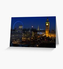 London eye and Big Ben by night, London, England Greeting Card