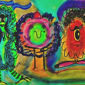 Mr. Furey, Fluffy & Fuzzy Monster by SarPappas