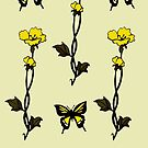 Yellow Butterflies & Flowers - Art Nouveau   by Linda Callaghan