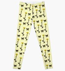 Yellow Butterflies & Flowers - Art Nouveau   Leggings