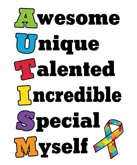 "Autism Awareness Art Posters Framed Artwork: ""Autism Awareness Acronym"" Posters By StudioMetzger"