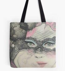 Masquerade Fantasy Pink and Black Mask Woman Tote Bag