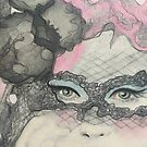 Masquerade Fantasy Pink and Black Mask Woman by Loulieart