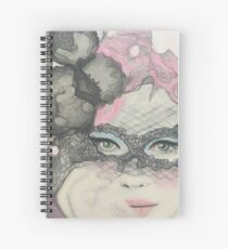 Masquerade Fantasy Pink and Black Mask Woman Spiral Notebook