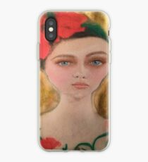 Vintage Red and Gold Flower Girl Fashion Portrait iPhone Case