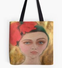 Vintage Red and Gold Flower Girl Fashion Portrait Tote Bag