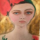 Vintage Red and Gold Flower Girl Fashion Portrait by Loulieart