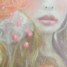 Romantic Peach and Pink and Orange Flower Fantasy Girl by Loulieart