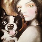 Famke Boston Terrier Fantasy Surreal Art Portrait by Loulieart