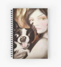 Famke Boston Terrier Fantasy Surreal Art Portrait Spiral Notebook