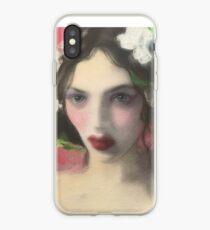 Brunette Floral Rose Fantasy Portrait Art iPhone Case