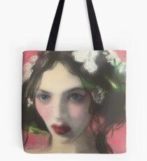Brunette Floral Rose Fantasy Portrait Art Tote Bag