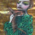 Fantasy Fox Fur Thorn Pine Needle Dress Nature Surreal Art Portrait by Loulieart