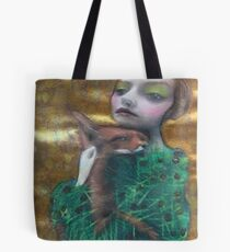 Fantasy Fox Fur Thorn Pine Needle Dress Nature Surreal Art Portrait Tote Bag