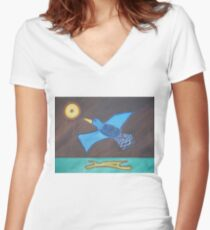 Duck! Fitted V-Neck T-Shirt