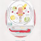 Haruki Murakami's Pinball, 1973 // Illustration of a Pachinko Machine in Watercolour and Pencil by arosecast