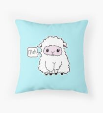 Meh. Sheep of Indifference Throw Pillow