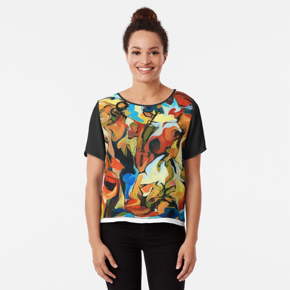 Abstract Musicians Painting Chiffon Top
