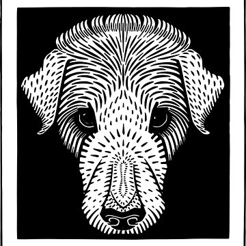Puppy Dog Engraving style, cute sad portrait by DeLaMarina