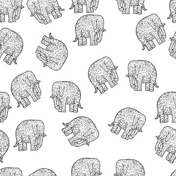 Elephant Pattern Yellow Engraving, Prehistoric Mammoth by DeLaMarina