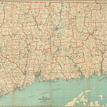 Vintage Map of Connecticut (1893) by BravuraMedia