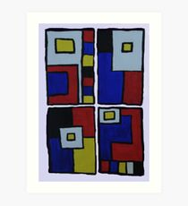 Ode to Mondrian in 4 Parts Art Print