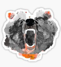 go bears! in black Sticker