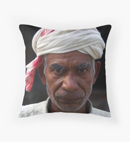 Old man, Majuli Island Throw Pillow