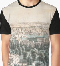 Vintage Pictorial Map of Newark NJ (1853) Graphic T-Shirt